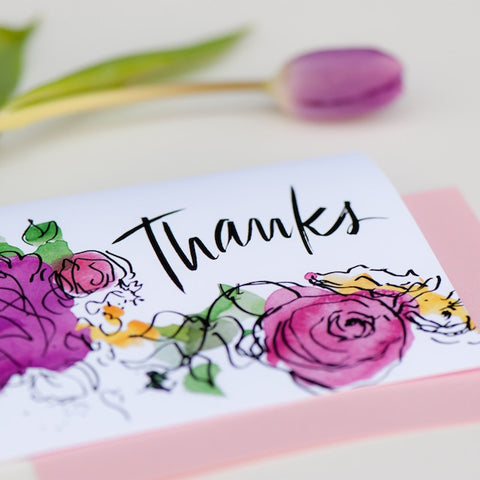 Hand paint water colour floral thank you card Klosh gift shop singapore