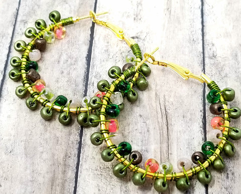 Army Green Boho Style Wire Wrap Hoop Earrings