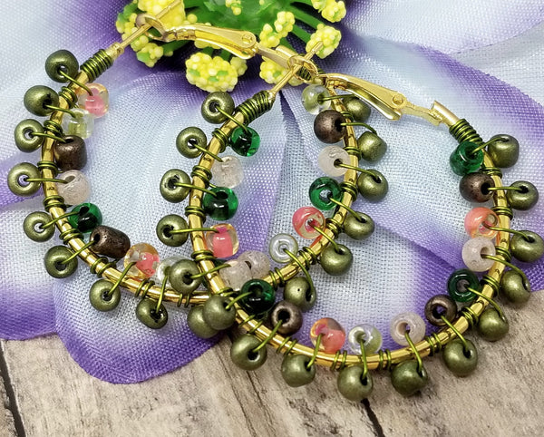 Army Green Boho Hoop Earrings - ChristalDreamZ