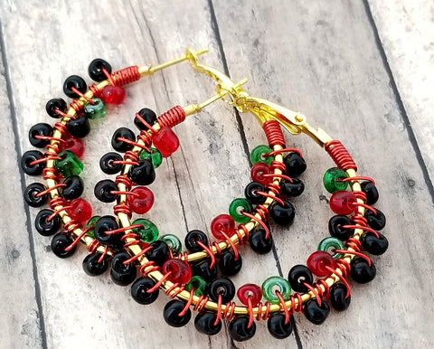 Red Black Green Beaded Hoop Earrings - ChristalDreamZ