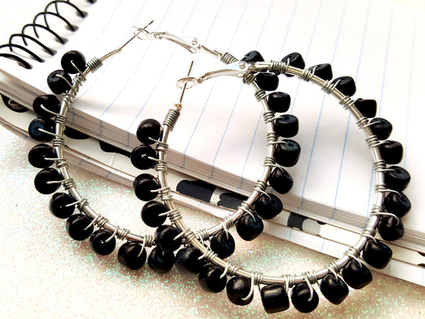 Black Wood Beaded Hoop Earrings - ChristalDreamZ