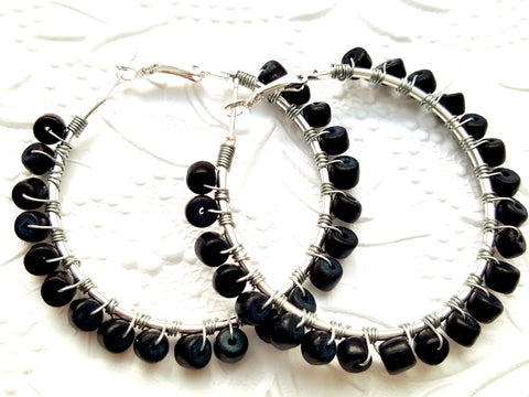 Black Wood Beaded Hoop Earrings