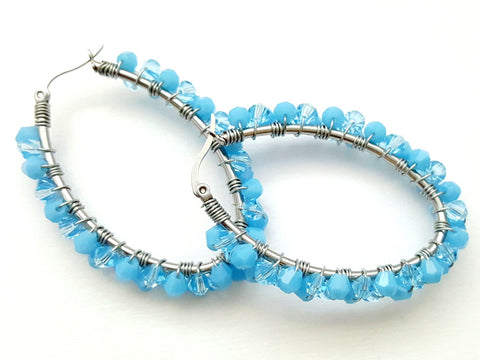 Baby Blue Wire Wrapped Beaded Oval Earrings