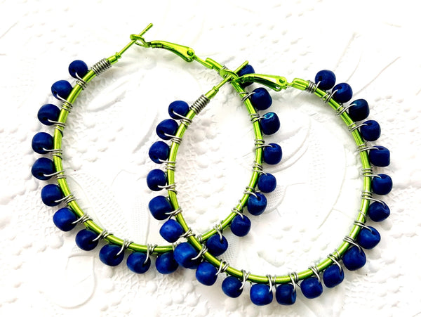 Blue Green Wood Beaded Hoop Earrings