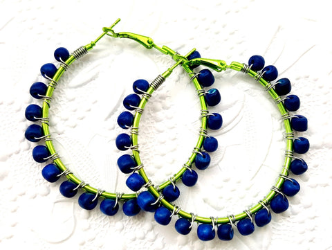 Blue Green Wood Beaded Hoop Earrings - ChristalDreamZ