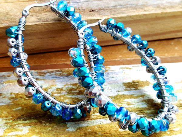 Metallic Teal and Silver Beaded Hoop Earrings