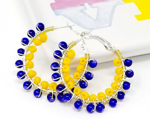 Blue & Yellow Beach Hoop Earrings - ChristalDreamZ
