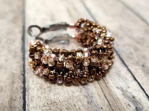 Brown Seed Bead Hoop Earrings - ChristalDreamZ