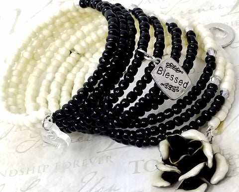 Cookies and Cream Black Beaded Wrap Memory Wire Bracelet - ChristalDreamZ