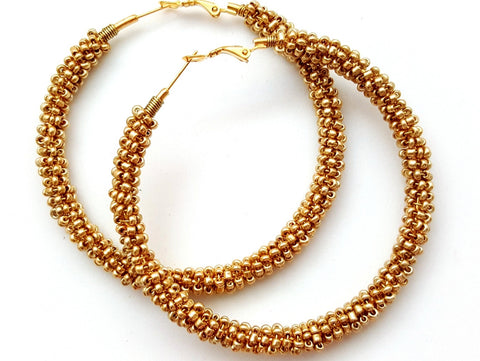 Gold Beaded Wire Wrapped Hoop Earrings