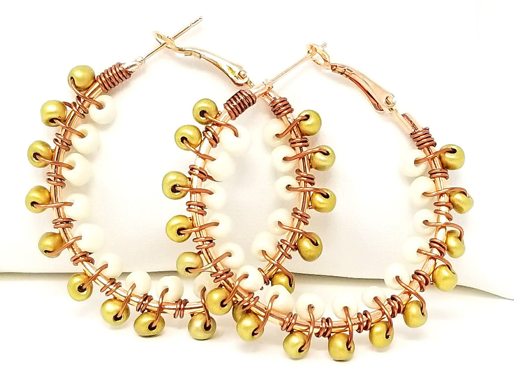 Gold Cream Beaded Hoop Earrings - ChristalDreamZ