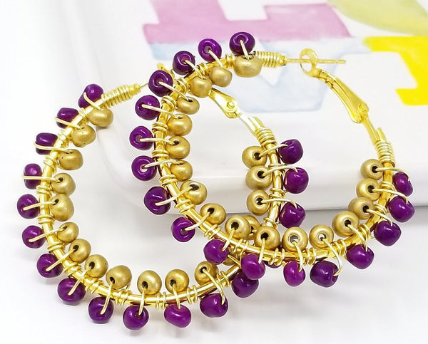 Purple Gold Double Wrap Beaded Hoop Earrings