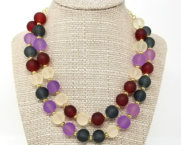 Purple Burgundy Chunky Beaded Bib Necklace - ChristalDreamZ