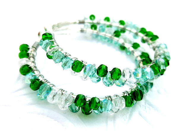 Green Aqua Beaded Hoop Earrings