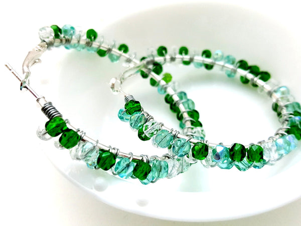 Green Aqua Beaded Hoop Earrings - ChristalDreamZ