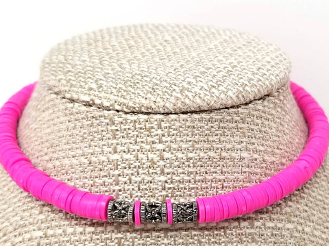 Hot Pink Beaded Choker Necklace - ChristalDreamZ