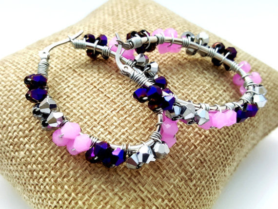 Purple Cluster Beaded Oval Hoop Earrings - ChristalDreamZ