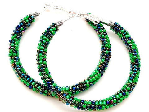 Emerald Green Midnight Blue Beaded Hoop Earrings