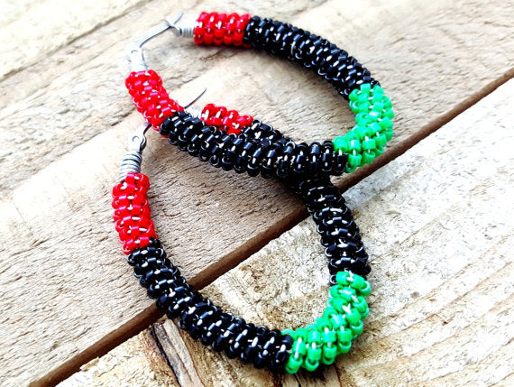 Afrocentric Beaded Hoop Earrings - ChristalDreamZ