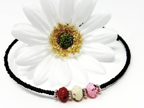 Black Multicolor Beaded Choker - ChristalDreamZ