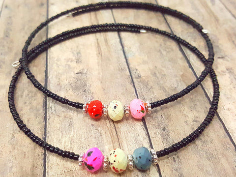 Simple Black Multicolor Memory Wire Beaded Choker - ChristalDreamZ