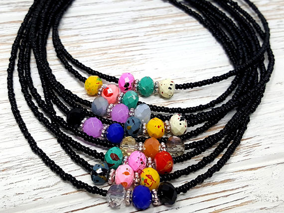 Dainty Black Multicolored Bohemian Style Women's Choker Necklace - ChristalDreamZ