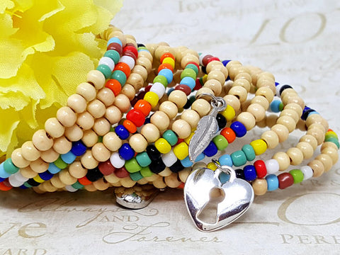 Lt Wood Rainbow Beaded Cuff Bracelet - ChristalDreamZ
