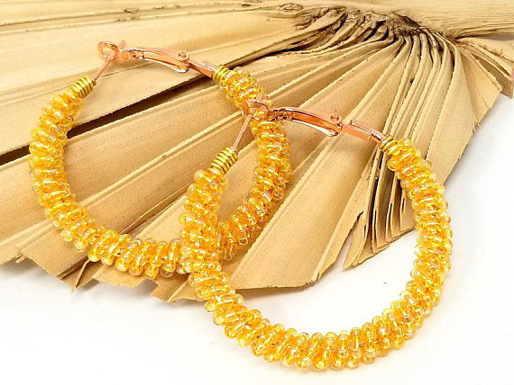 Banana Yellow Boho Seed Bead Hoop Earrings