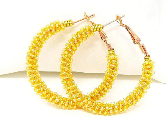 Banana Yellow Boho Seed Bead Hoop Earrings - ChristalDreamZ