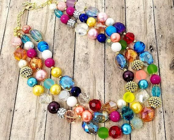Multicolor Chunky Bead Statement Necklace - ChristalDreamZ