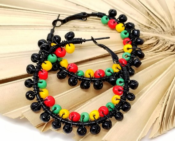 Red Black Green African Inspired Beaded Hoops - ChristalDreamZ