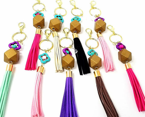 Colorful Wood Bead Tassel Keychains - ChristalDreamZ