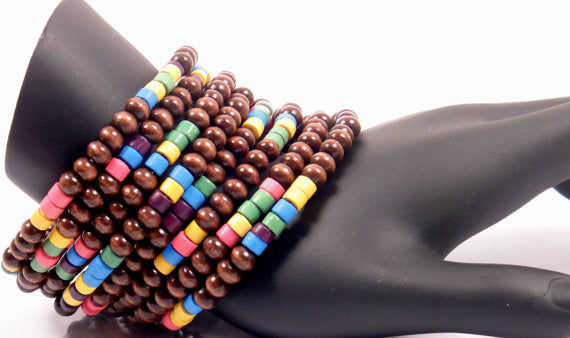 Mahogany Wood Rainbow Chunky Bead Cuff - ChristalDreamZ