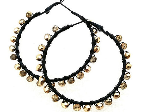 Large Black Gold Beaded Hoop Earrings