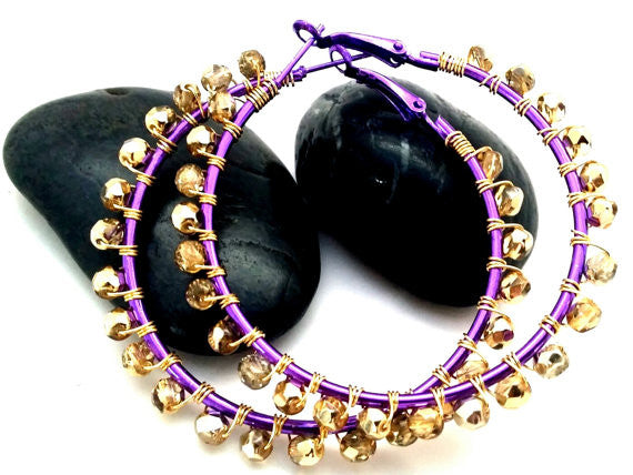 Purple Gold Wire Wrapped Beaded Hoops