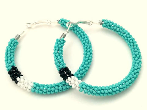 Turquoise Black White Wire Wrapped Beaded Hoop Earrings