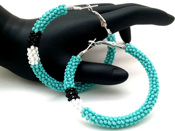 Turquoise Black White Wire Wrapped Beaded Hoop Earrings - ChristalDreamZ