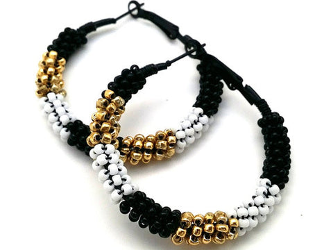 Gold Black White Bohemian Hoop Earrings