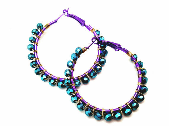 Mardi Gras Celebration Inspired Beaded Hoop Earrings