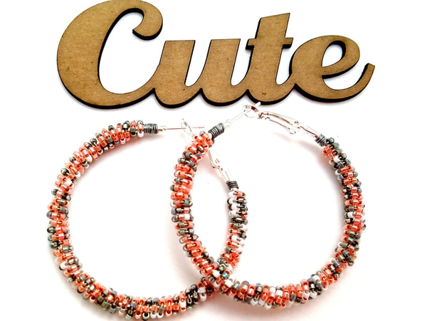 Peach Gray Boho Earrings - ChristalDreamZ