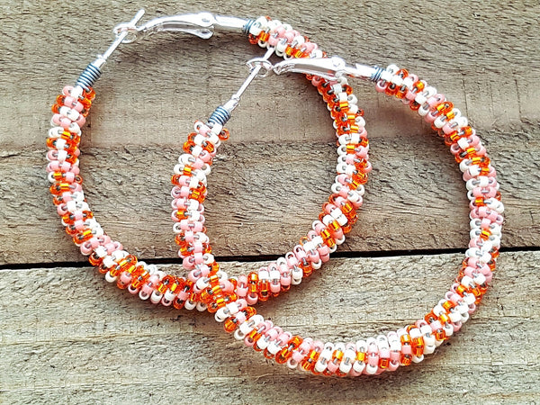 Orange Cream Beaded Hoop Earrings - ChristalDreamZ