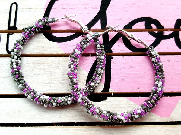 Purple Gray Beaded Hoop Earrings - ChristalDreamZ