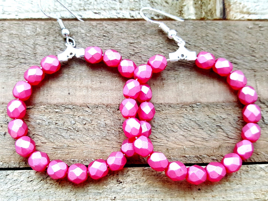 Watermelon Pink Beaded Hoop Earrings - ChristalDreamZ