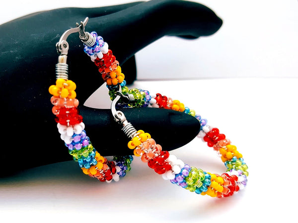 Rainbow Beaded Oval Hoop Earrings - ChristalDreamZ