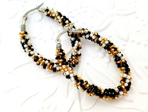 Black Gold White Beaded Oval Hoop Earrings