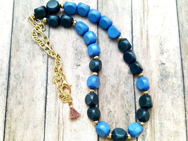 Blue Gold Wood Beaded Necklace - ChristalDreamZ