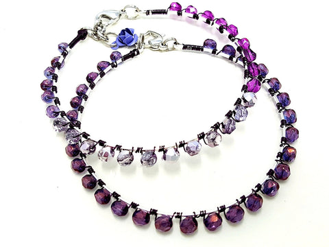 Purple Beaded Wrap Bangle