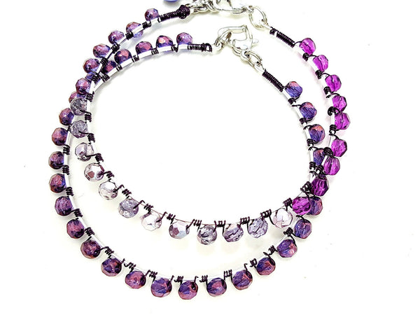 Purple Beaded Wrap Bangle - ChristalDreamZ