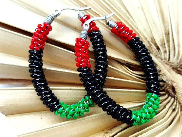 Red Black Green Afrocentric Beaded Hoop Earrings - ChristalDreamZ