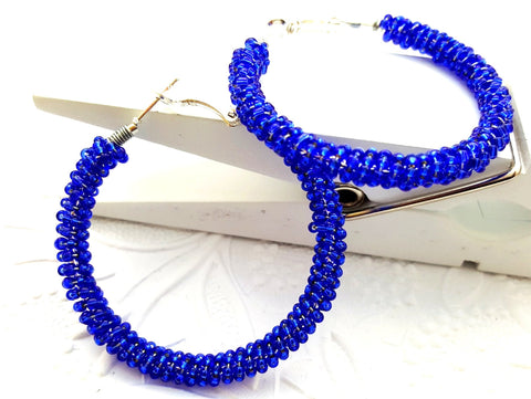 Royal Blue Beaded Hoop Earrings - ChristalDreamZ